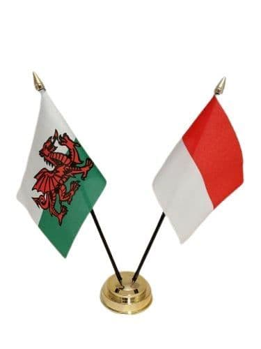 Indonesia with Wales Friendship Table Flag